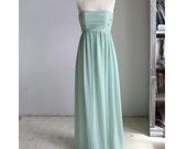 2015 Dusty Mint Bridesmaid dress, Strapless Chiffon Wedding dress, Long Prom dress, Womens Formal dress, Cocktail   dress floor length(B009)