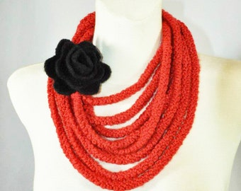 Infinity Scarf, Red Necklace Scarf, Rope Scarf, Crochet Scarf, Red Infinity Scarf with Black Felted Rose Brooch, Circle Scarf, Goth Scarf,