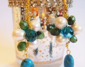 FWP cream pearls semi precious green and torqouise on gold rose bud style wire wrapped earrings