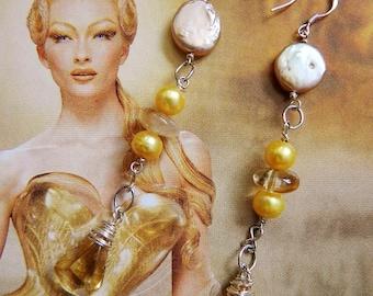 CITRINE FACETED DROP long earrings handmade pale yellow real pearls sterling silver high end earrings