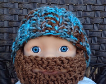 Baby Bearded Beanie - Blue and Brown Hat W/ Medium Brown Beard 6-12 Months Beard face mask