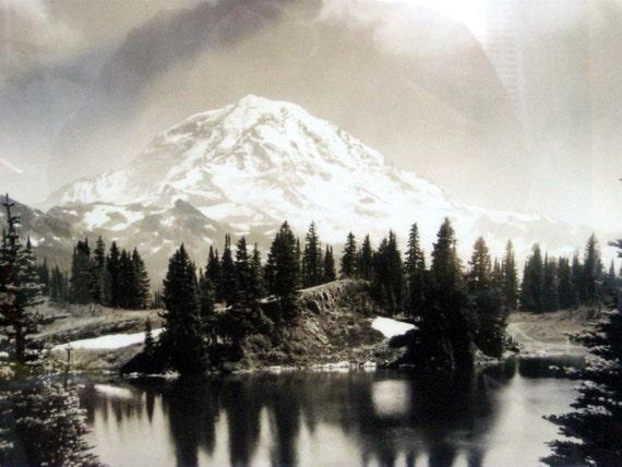 Vintage Mt Rainier Print Ansel Adams Style Black Amp White