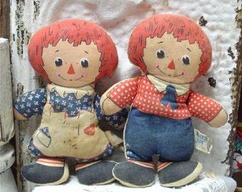 Knickerbocker Raggedy Ann Andy Dolls 7 Inch