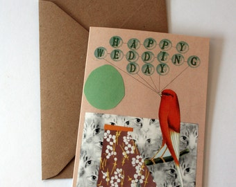 SALE -  Wedding Day Bird Cat Eco Friendly Art Greeting Card
