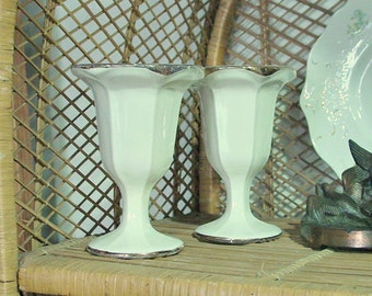 Unusual Ceramic Goblets, White with Gold Trim Goblets, Wedding Drinking Glasses, Home Decor, Vintage Houseware, Wedding Decor
