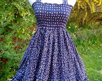 Reduce Price - Vintage inspired  Retro Rockabilly swing summer dress- in Navy