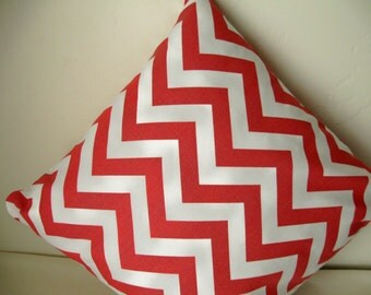 White and Coral Chevron Throw Pillow Cover 16""