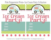 NEW INSTANT DOWNLOAD The Ice Cream Party Collection Printable Fill In 5x7 Invitations