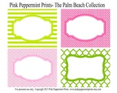 NEW INSTANT DOWNLOAD The Palm Beach Pink Flamingo Printable Party Collection Food Labels