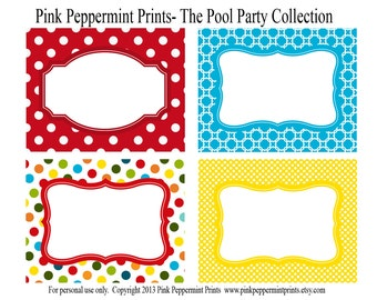 New INSTANT DOWNLOAD The Splish Splash Pool Party Printable Party Collection- Printable Party Labels