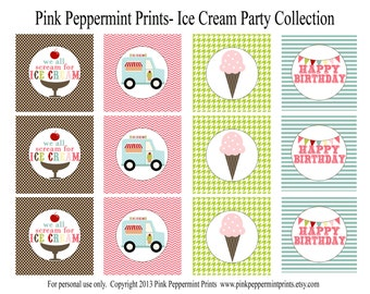 NEW INSTANT DOWNLOAD The Ice Cream Party Collection Printable Custom Party Circles and Tags