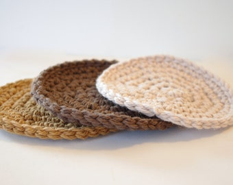 Crocheted Face Scrubbies - 100% Soft Cotton Rounds - Set Of 3 Taupe Amber And Cream -  Washcloth Pads