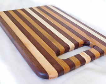 Handcrafted Maple And Walnut Cutting Board -  15 x 11 Inchs - Gift For Mom - Shower Gift - Wedding Gift - Mothers Day - Gift For Mom