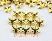 100Pcs 13mm GOLD Six Pointed STAR Hexagram Studs Metal Studs (JLS13)