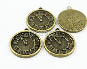 20Pcs Antique Brass Clock Charm Clock Pendant 24mm (PND002)