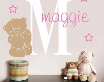 Bear wall decal, teddy bear decal for girls room, teddy bear wall sticker, name wall decal for kids, nursery stickers for girls, bear art