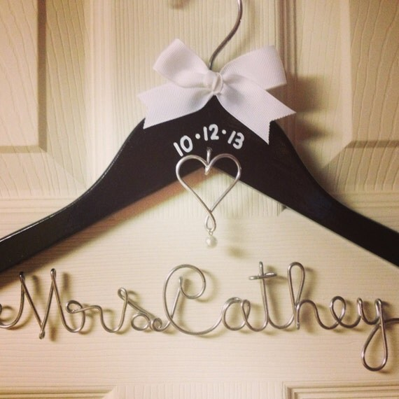 Personalized wire wedding dress hanger w by for Wedding dress hangers with name
