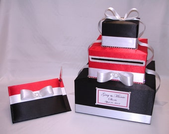 Black Red and White Wedding Card Box-Guest Book and Pen set-any color combination