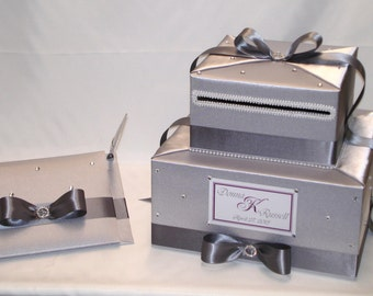 Elegant Custom made Wedding Card Box-Guest book and pen-any color combination