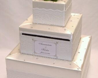 Ivory-White Lace  Wedding Card Box-rhinestone accents