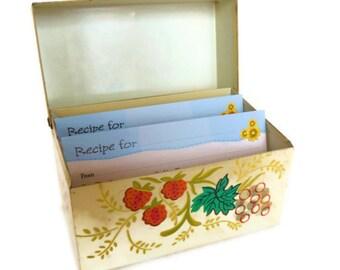 Vintage Metal Recipe Box Fruit Yellow Shabby Chic 50's - 60's (item 7)