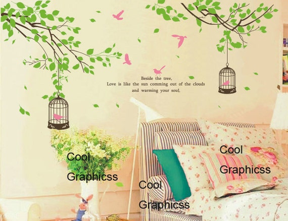 wall decal branch wall decal nursery wall decal children decal girl boy room Vinyl Wall Decal Wall Sticker -  Two Branches with birds cage