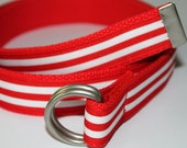 "Red and White Belt Striped Ribbon Preppy Adult Belt 1.25"" Wide"