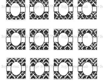 INSTANT DOWNLOAD Blank Damask CIgar Band  for Scrabble tiles 4x6 image Sheet