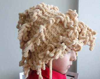 Curly hair knitting beanie hat,Halloween Hat,Bisque Frilly Ruffled Hat.