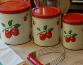 Vintage Decoware Apple Kitchen Canisters, Cottage Chic, Red Kitchen