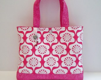 "Heart Garden print with charms, 9 1/2"" X 7 1/2"" Little Girls Purse/Handbag. Ready to ship"