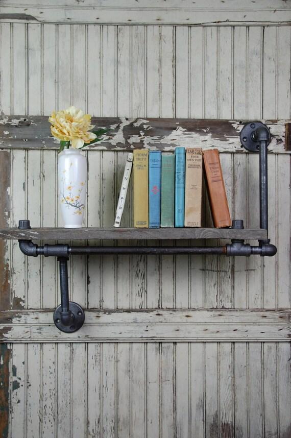Handmade Barn Board & Pipe Wall Shelf with Customizable Options