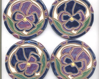Mosaic Tile Coasters PANSY Handmade Ceramic Tile Coasters Stoneware Floral Art Purple and Navy Blue Set of 4