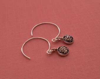 Tiny Marcasite Sterling Silver Earrings