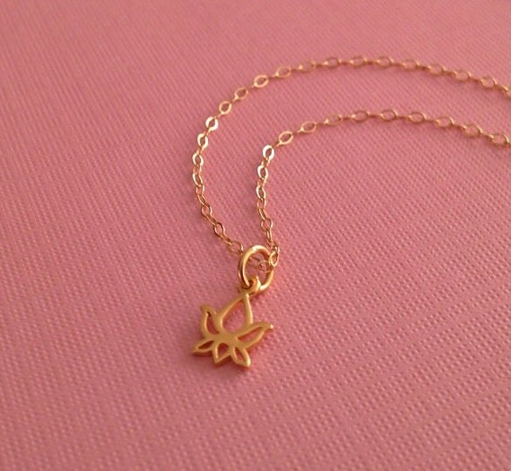 Tiny Lotus Necklace in Gold