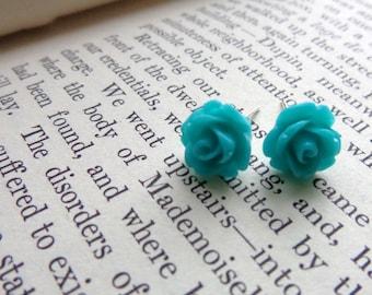 Aqua Teal Rose Post Earrings.