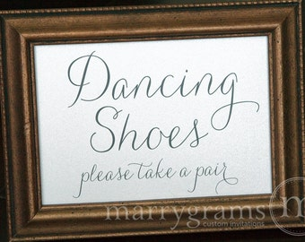Dancing Shoes Wedding Sign - Flip Flops Basket Sign -Wedding Reception Seating Signage - Matching Numbers SS01
