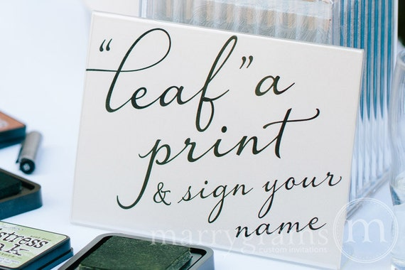 Alternative guest book table sign leaf a print like this item sciox Images