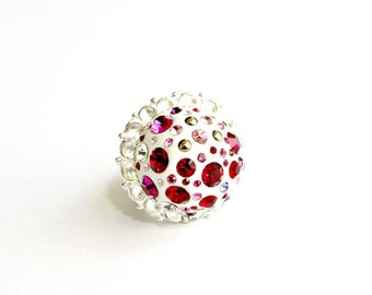 Heart of A Liar Ring - Silver plated, etched design, Swarovski crystals, white, clay, red, pink, cabochons
