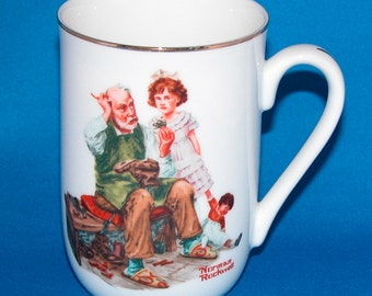 The Cobbler, Norman Rockwell Museum Mug, Porcelain Cup