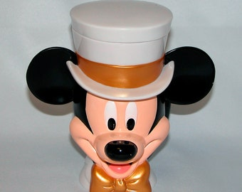 Mickey Mouse Cup, Single Handle, Hinged Lid, White Top Hat, Tuxedo, Gold Bow Tie