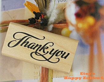 """Wooden Rubber Stamp - Thank you - 6cm x 3cm (2.4"""" x 1.2"""")"""