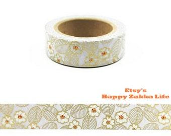 Japanese Washi Masking Tape - Golden Flower - 11 Yards