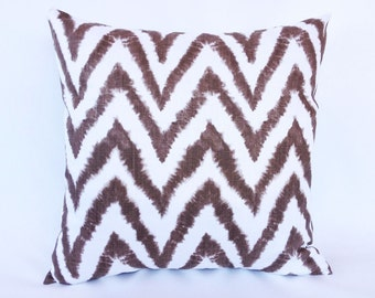 70% OFF CLEARANCE Brown Zig Zag Throw Pillow Cover 16x16 Italian Brown Chevron Decorative Pillow. Cushion Cover