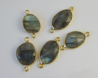 1 Pc - Genuine Faceted Labradorite Connector, Findings With Gold Plated Over 925 Sterling Silver Bezel Rim  C5245G