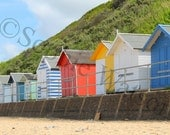 "Beside the Sea, Beach Huts Photograph, 12""x8"" Print"