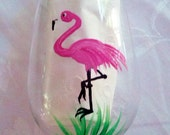 Flamingo hand painted wine glasses