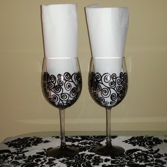 Black Swirl hand painted wine glasses