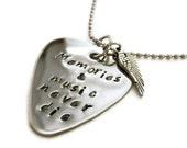 Memorial Guitar Pick necklace for men or women, guitar pick necklace with angel wing