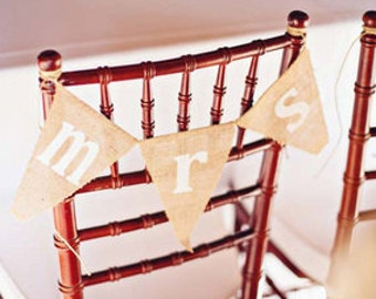 Mr and Mrs burlap chair banners - wedding garland